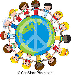 Global Children - A globe with the peace sign on it and...