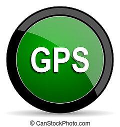 GPS, verde, tela, brillante, icono, con, sombra, en, blanco,...