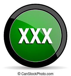 xxx green web glossy icon with shadow on white background -...