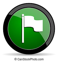flag green web glossy icon with shadow on white background -...