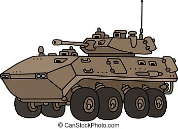 Wheeled armoured vehicle - Hand drawing of a sand wheeled...