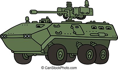 Wheeled armoured vehicle - Hand drawing of a wheeled...