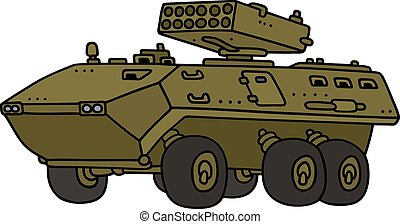 Armoured launcher vehicle - Hand drawing of a wheeled...