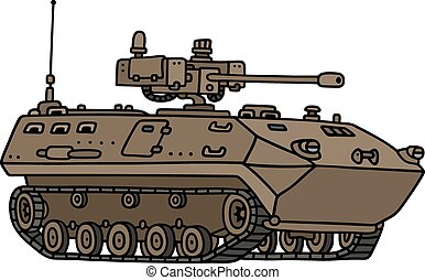 Tracked armoured vehicle - Hand drawing of a sand tracked...