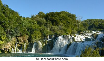 Waterfalls in Krka National Park - Cascading waterfalls...