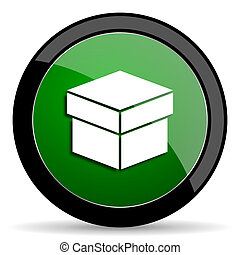 box green web glossy icon with shadow on white background -...