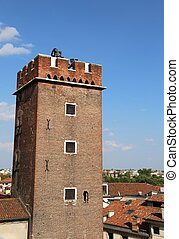 Tower of Torment in Piazza delle Erbe in Vicenza in Italy -...