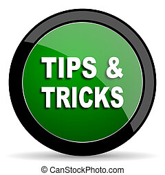 tips tricks green web glossy icon with shadow on white...