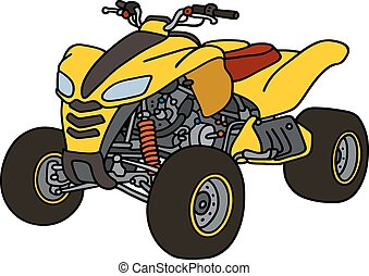 Yellow all terrain vehicle - Hand drawing of a yellow all...