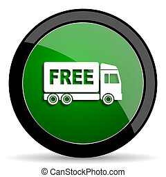 free delivery green web glossy icon with shadow on white...