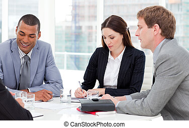 Concentrated business group having a meeting