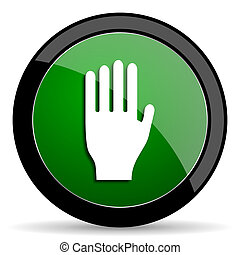 stop green web glossy icon with shadow on white background -...