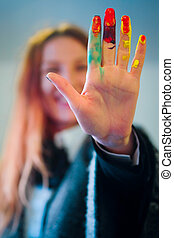 artists hand - The image of artists hand coloured by the...