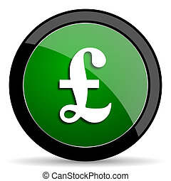 pound green web glossy icon with shadow on white background