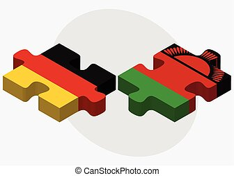 Germany and Malawi Flags in puzzle isolated on white...