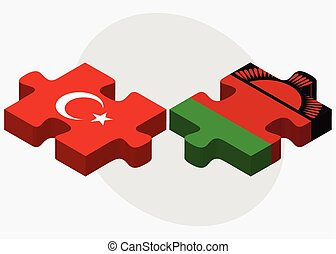 Turkey and Malawi Flags in puzzle isolated on white...