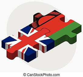 United Kingdom and Malawi Flags in puzzle isolated on white...