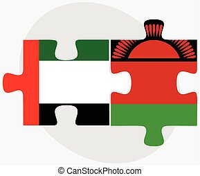 United Arab Emirates and Malawi Flags in puzzle isolated on...