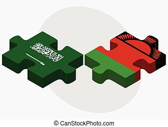 Saudi Arabia and Malawi Flags in puzzle isolated on white...