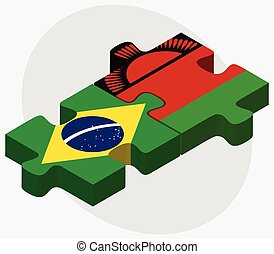 Brazil and Malawi Flags in puzzle isolated on white...