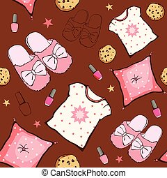 Vector Pink Brown Sleepover Party Food Objects Seamless...