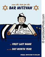 Bar Mitzvah Save the Date Card - Vector illustration of a...