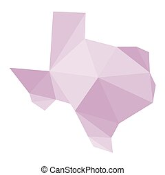 pink polygonal Texas vector map