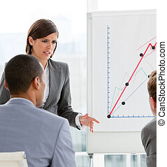 Young female executive presenting statistics in a company