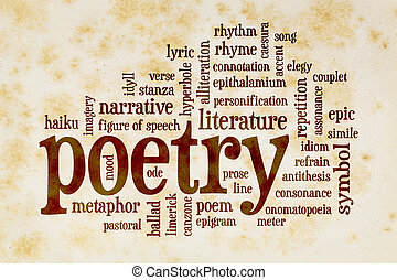 poetry word cloud on vintage paper - poetry word cloud on...