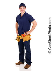young male builder - handsome young male builder on white