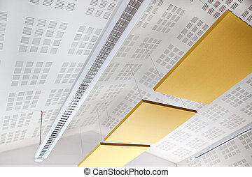 Insulating ceiling and lighting in a classroom