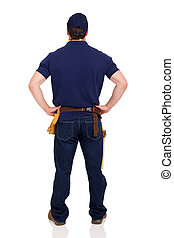 rear view of young repairman