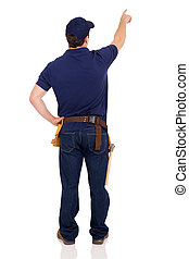 back view of handyman pointing