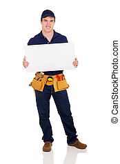 repairman holding white board - full length portrait of...