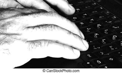 Man hand typing on laptop keyboard. Concepts and Ideas
