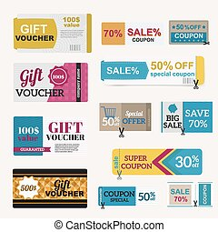 illustration of gift voucher template collection. Voucher...