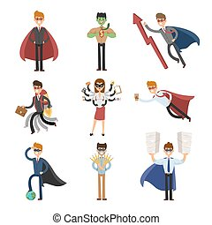 Superhero business man and woman in action vector set
