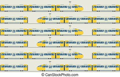 Modern and vintage trains vector collection - Modern fast...