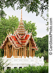 thai pattern Capitol Water in park with tree frame - The...