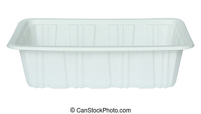 white plastic food container isolated white with clipping...