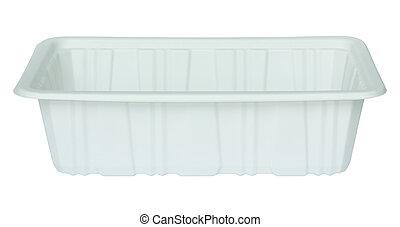 blanco, plástico, alimento, contenedor, aislado,...