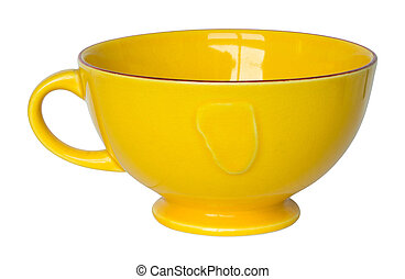 empty yellow cup isolated on white with clipping path