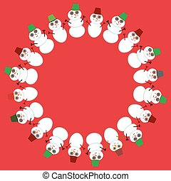 Set of cute cartoon funny snowman for winter design round frame for your text on red background. Vector