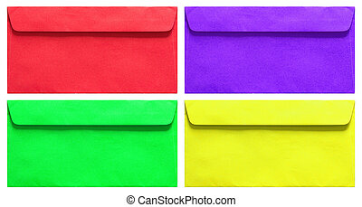 set of colorful envelope isolated on white with clipping...