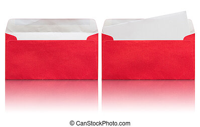 open red envelope with blank letter isolated on white...