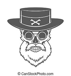 Head hunter skull with beard, hat and glasses vector. Rover...