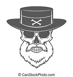 Head hunter skull with beard and hat vector. Rover logo...