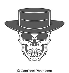 Wild west skull with hat. Smiling rover logo template....
