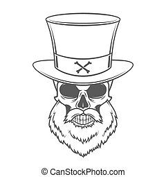 Steampunk Head hunter skull with beard and high hat vector...