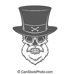 Head hunter skull with beard, hat and glasses vector....